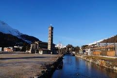 罗马式教会StKarl,圣盛生,瑞士 库存图片