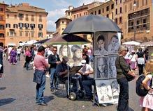罗马意大利纳沃纳广场艺术家在工作 免版税库存图片