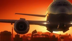 罗马意大利飞机离开地平线金黄背景 库存图片