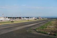 罗马意大利2016年6月19日 私人喷气式飞机由钱皮诺机场跑道停放了 免版税库存照片