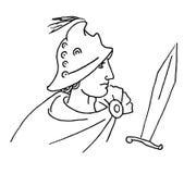 罗马战士一个半具有的头盔甲和斗篷的 库存例证