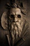 罗马战士雕塑面具 库存照片