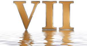 罗马数字VII, septem, 7,七,反射在水海浪 库存照片