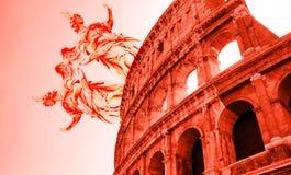 罗马斗兽场和雕象/雕塑数字式艺术  图库摄影