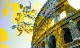 罗马斗兽场和雕象/雕塑数字式艺术  免版税库存照片