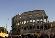 罗马斗兽场在有一棵圣诞树的罗马在它的边和人民 免版税图库摄影