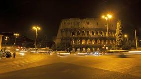 罗马斗兽场在罗马在晚上 股票录像
