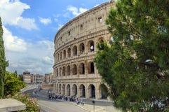 罗马斗兽场或大剧场在罗马,有树和蓝天的意大利 免版税库存照片