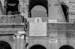 罗马斗兽场的墙壁的细节在一个明亮的晴朗的夏日在罗马,意大利 库存照片