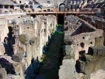 罗马斗兽场竞技场,显示地窖 免版税库存图片