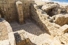 罗马时期的建筑学在以色列的地中海海岸的国家公园凯瑟里雅 库存照片