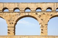 罗马渡槽du gard的pont 库存照片