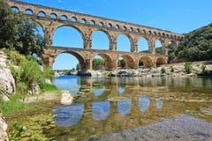 罗马渡槽Pont du Gard,法国。 科教文组织站点。 免版税库存照片