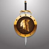 罗马的古董或领袖保护战士的希腊盔甲与 图库摄影