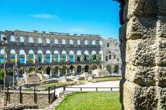 罗马的圆形剧场 普拉, Istria,克罗地亚,欧洲 免版税库存照片