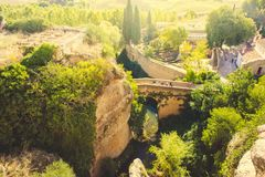 罗马石桥梁在朗达 库存图片