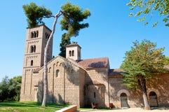 罗马窗框的修道院。Poble Espanyol。巴塞罗那。 库存图片