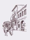 罗马街道,意大利,老意大利语原始的数字式图画  免版税库存照片