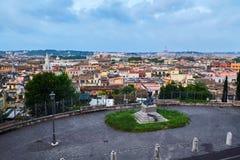 罗马都市风景 Pincio小山 库存照片