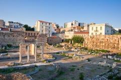 罗马集市和风的塔。雅典,希腊。 库存图片