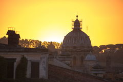 罗马风景日落 免版税库存照片