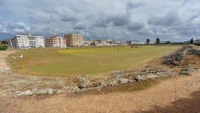 罗马马戏的废墟在梅里达 免版税库存照片