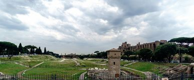 罗马马西莫马戏,正确的看法的考古学废墟  免版税库存照片