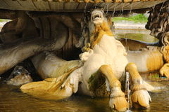 罗马,别墅Borghese公园 海马喷泉 免版税库存图片