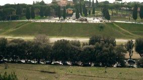 罗马,意大利的一个古老部分的引人入胜和壮观的风景马戏Maximus 城市美好的全景  股票视频