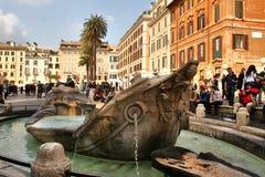 罗马,意大利,西班牙台阶, fontana della barcaccia, 免版税库存图片