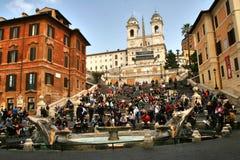 罗马,意大利,西班牙台阶, fontana della barcaccia, trinita dei monti 免版税图库摄影