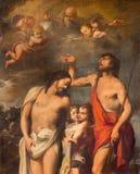罗马,意大利, 2016年:基督绘画洗礼在大教堂二圣塔Maria del Popolo的帕斯奎尔Rossi 免版税图库摄影