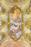 罗马,意大利:圣凯瑟琳神化壁画在教会基耶萨di圣诞老人Caterina da锡耶纳里Magnapoli路易Garzi 1713 免版税库存图片