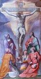 罗马,意大利:在十字架上钉死壁画和圣徒在教会Basilica di Santi Quattro Coronati里乔凡尼da圣乔瓦尼 免版税库存照片