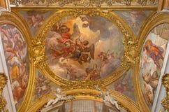 罗马,意大利:壁画在帕多瓦圣安东尼教堂穹顶的音乐家天使教会基耶萨二的圣玛丽亚在Aquiro 库存图片