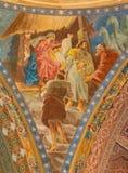 罗马,意大利:诞生壁画细节在教会大教堂二圣玛丽亚Ausiliatrice圆屋顶的1957-1965  库存照片