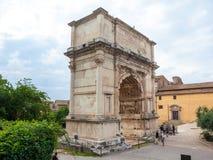罗马,意大利- 22 06 2018年:泰特斯曲拱的通过骶骨,罗马 免版税库存图片