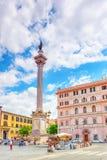 罗马,意大利- 2017年5月08日:圣玛丽亚Maggiore Pi正方形  免版税库存图片