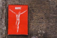 罗马,意大利- 2017年4月6日:在红色岗位的奇迹耶稣基督 免版税库存照片