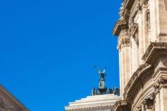 罗马,意大利- 2017年9月12日:对胜者伊曼纽尔的国家历史文物II,从罗马论坛的看法 图库摄影