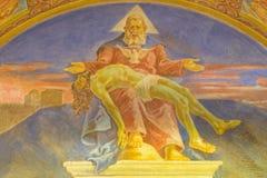 罗马,意大利- 2016年3月10日:与死亡儿子& x28的壁画圣父; 1957-1965& x29; 图库摄影