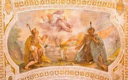 罗马,意大利- 2016年3月11日:凯因和亚伯牺牲由V 在教会基耶萨二圣洛伦佐的Salimbeni在Palatio广告密室圣 库存图片