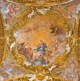 罗马,意大利- 2016年3月12日:圣母无染原罪瞻礼的壁画主要圆屋顶的在基耶萨二圣玛丽亚del Orto 免版税库存图片