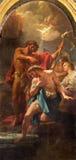 罗马,意大利- 2016年3月12日:基督paintin洗礼在教会基耶萨二圣玛丽亚小山谷Orto Corado Giaquinto 库存照片