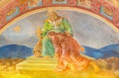 罗马,意大利- 2016年3月10日:壁画圣父接受儿子& x28的牺牲; 1957-1965& x29; 库存照片