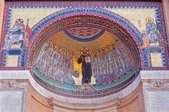 罗马,意大利- 2016年3月11日:马赛克耶稣和由P的传道者 L Ghezzi 1674 - 1755 免版税库存照片