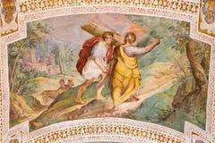 """罗马,意大利- 2016年3月11日:去牺牲的亚伯拉罕和以撒由P Bril和A Viviani 1560†""""1620 库存照片"""