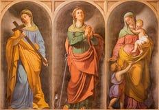 罗马,意大利- 2016年3月11日:主要virtuee的符号壁画在教会Basilica di Santi乔凡尼e保罗里Francesc 库存图片