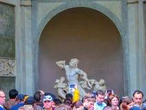 罗马,意大利- 2014年5月02日:Laocoon古老雕象和他的儿子在梵蒂冈,意大利 免版税库存照片