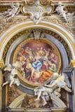 罗马,意大利- 2016年3月12日:Pentecost壁画在教会基耶萨二由A的圣玛丽亚小山谷Orto Procaccini 库存照片